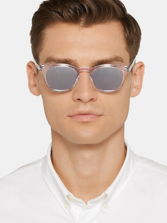 SAINT LAURENT Square-Frame Acetate Mirrored Sunglasses