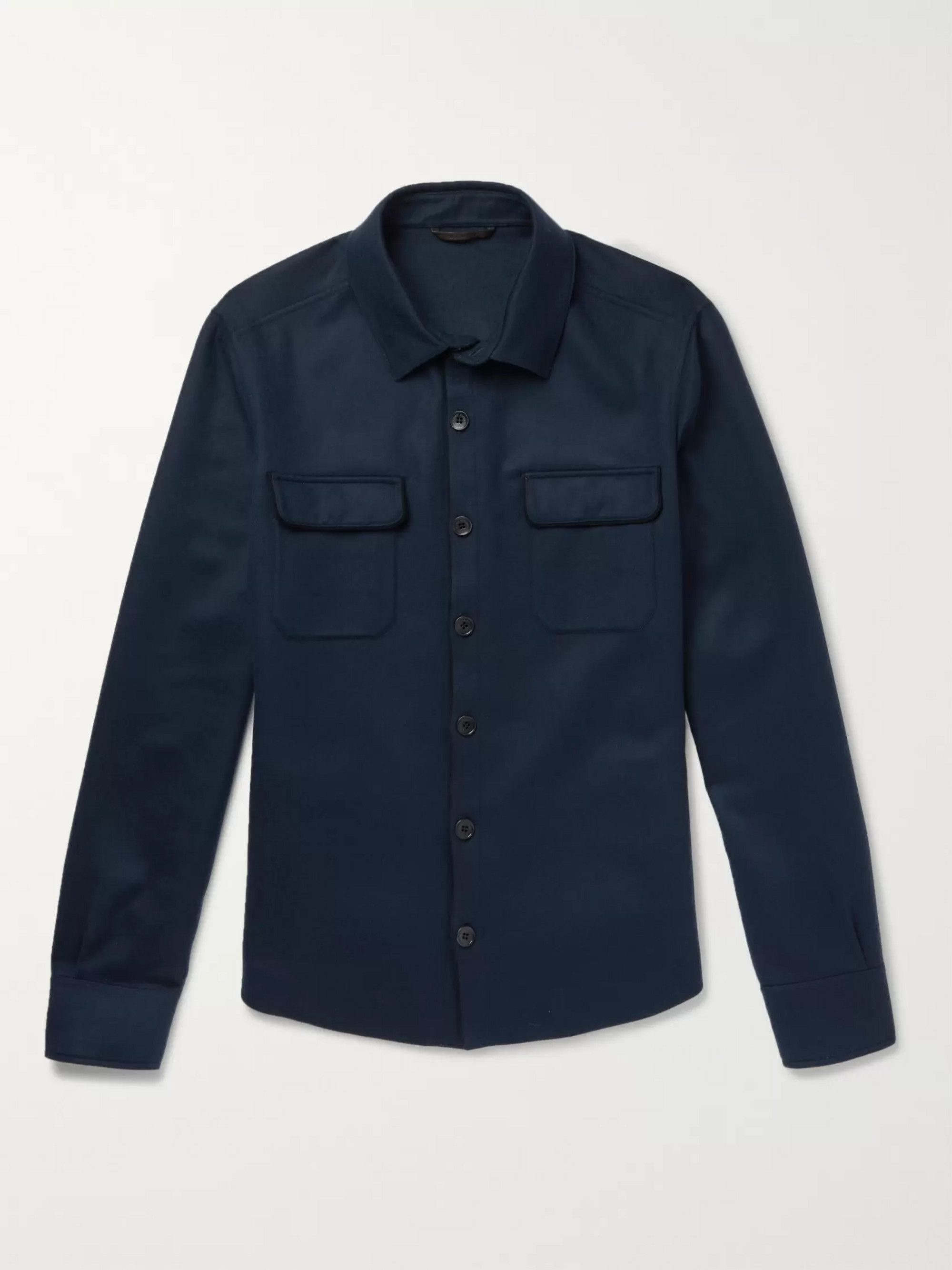 Loro Piana Suede-Trimmed Cashmere Shirt Jacket