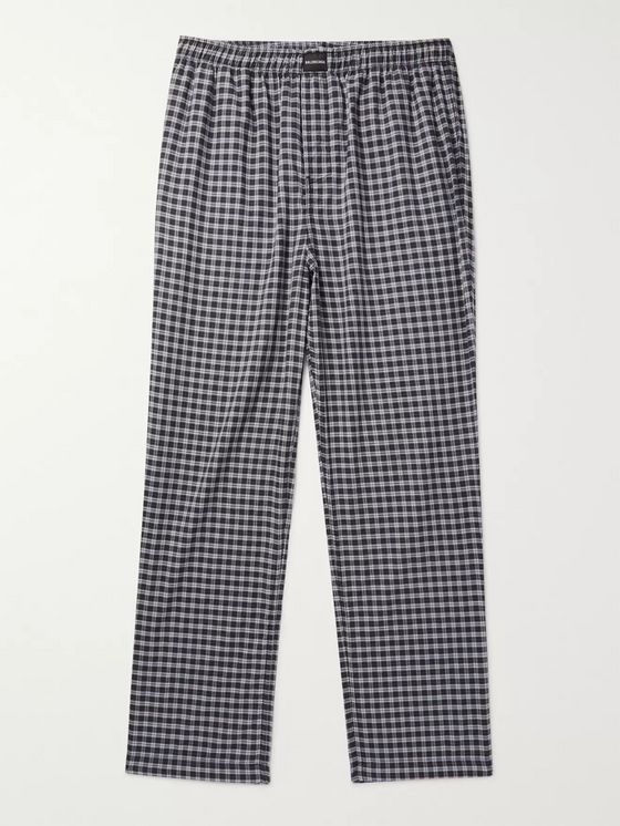 Balenciaga Wide-Leg Checked Cotton Drawstring Trousers