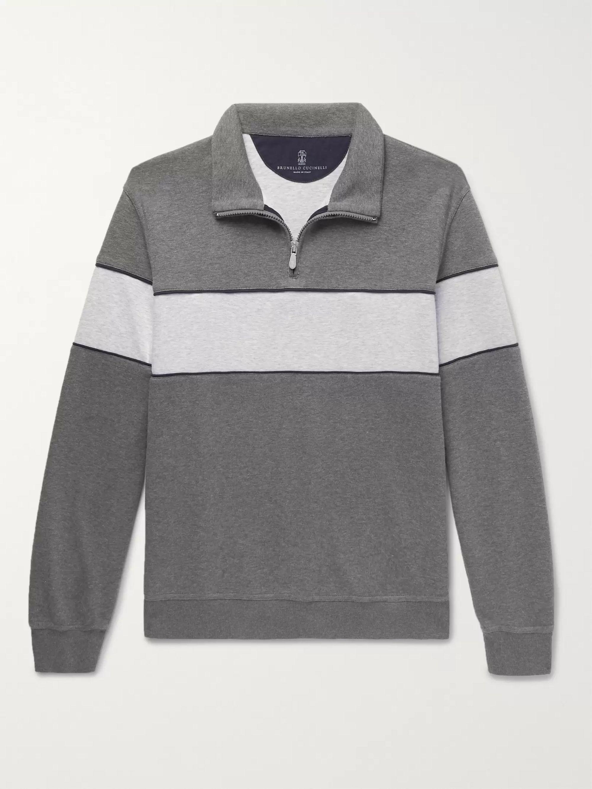 Two Tone Mélange Jersey Half Zip Sweatshirt