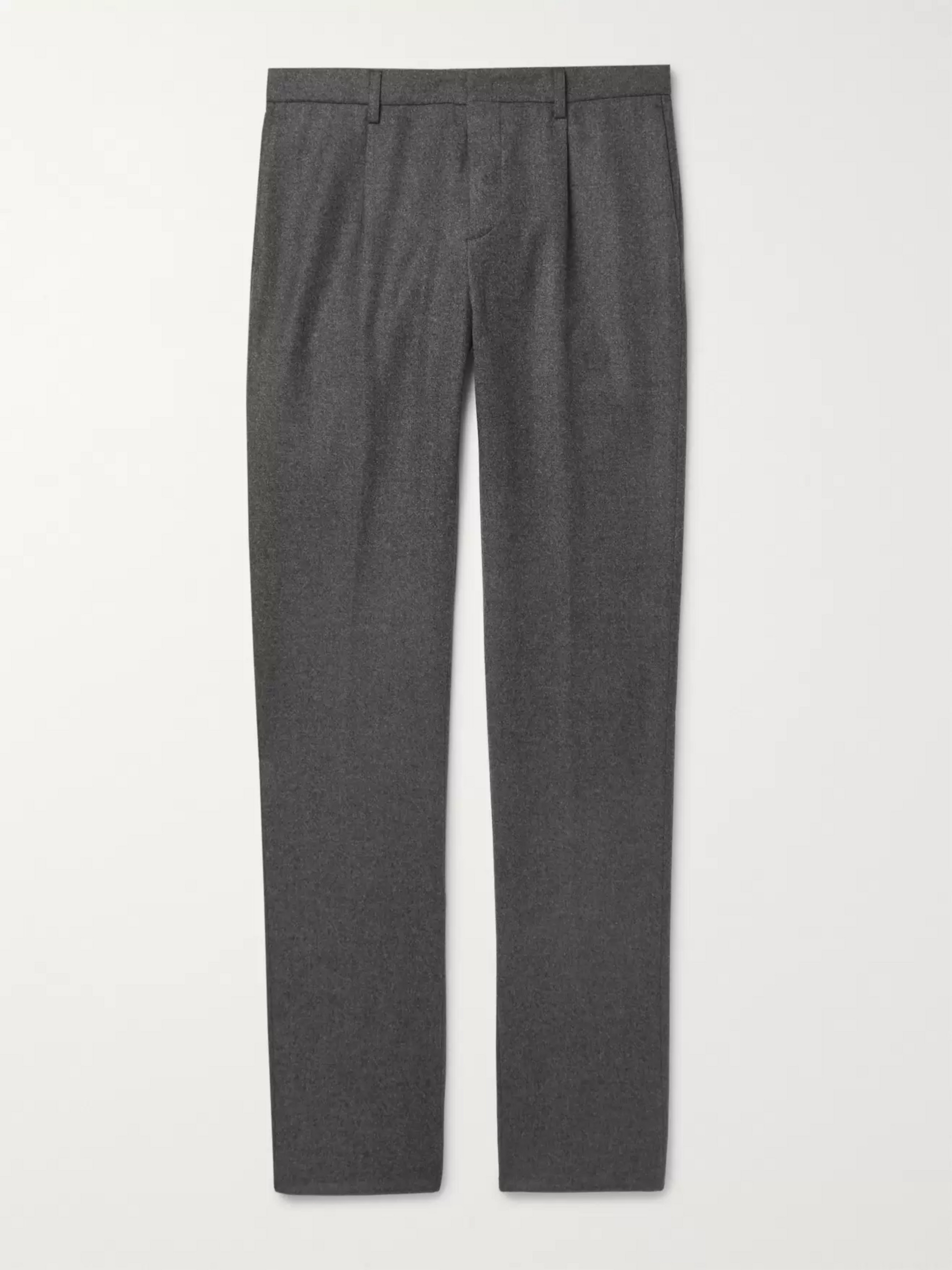 Loro Piana Slim-Fit Mélange Wool and Cashmere-Blend Drawstring Trousers