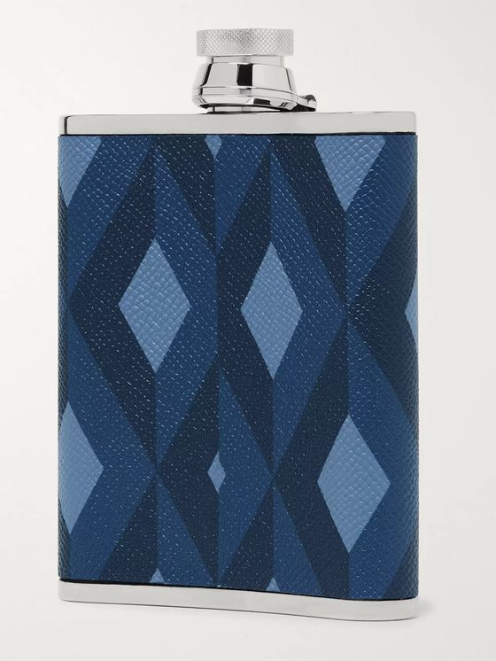 Dunhill 6oz Cadogan Printed Pebble-Grain Leather and Stainless Steel Flask