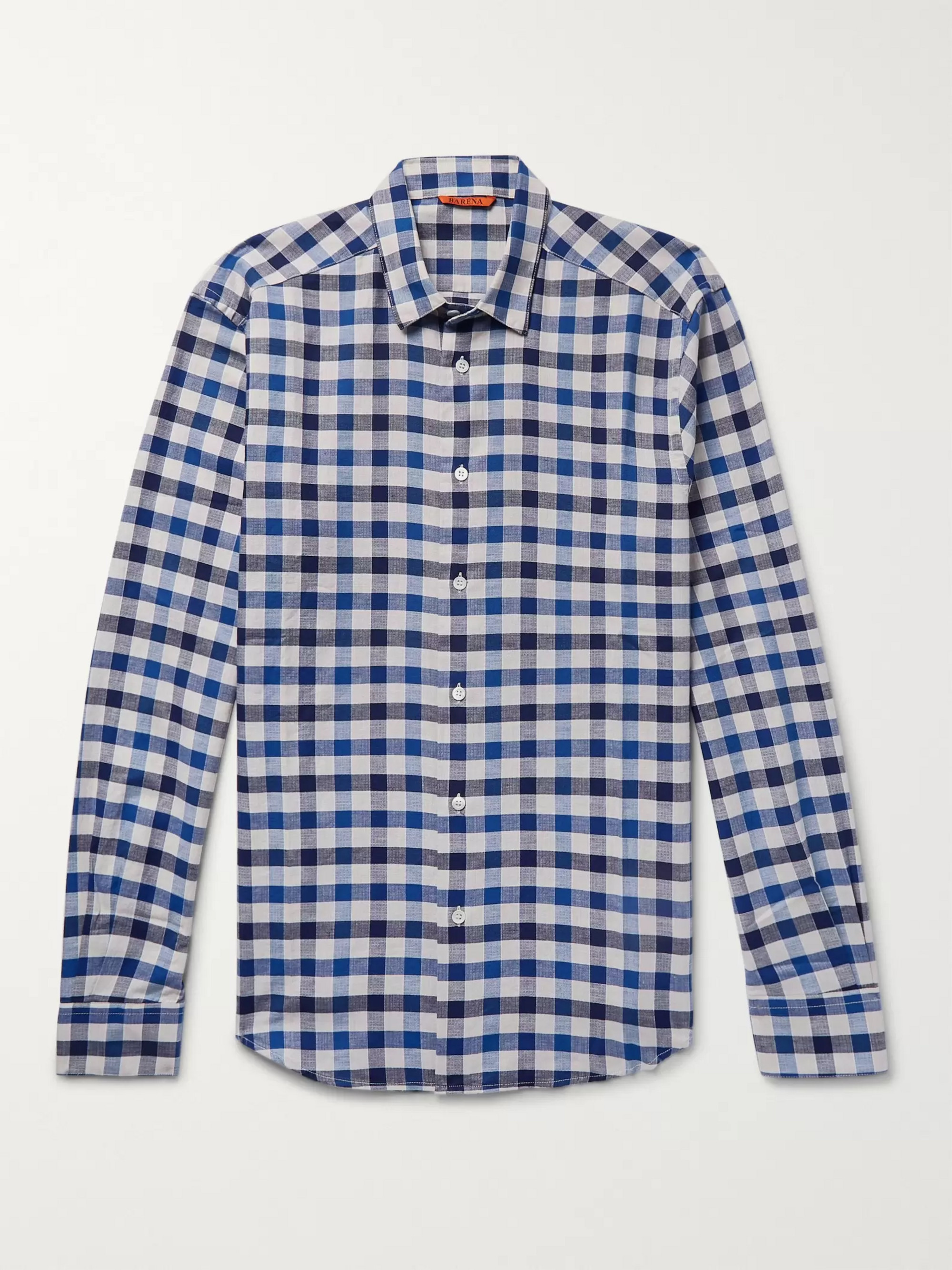 Barena Button-Down Collar Checked Cotton and Linen-Blend Shirt