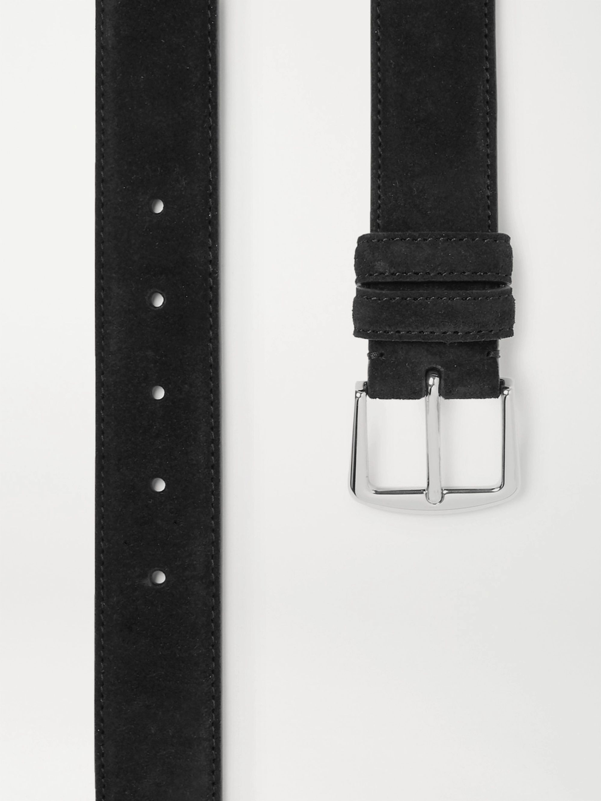 Loro Piana 3.5cm Black Suede Belt