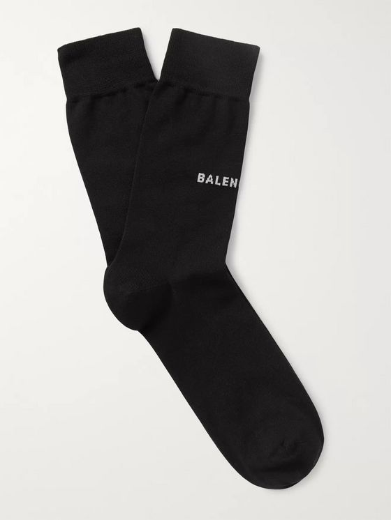Balenciaga Logo-Intarsia Stretch Cotton-Blend Socks