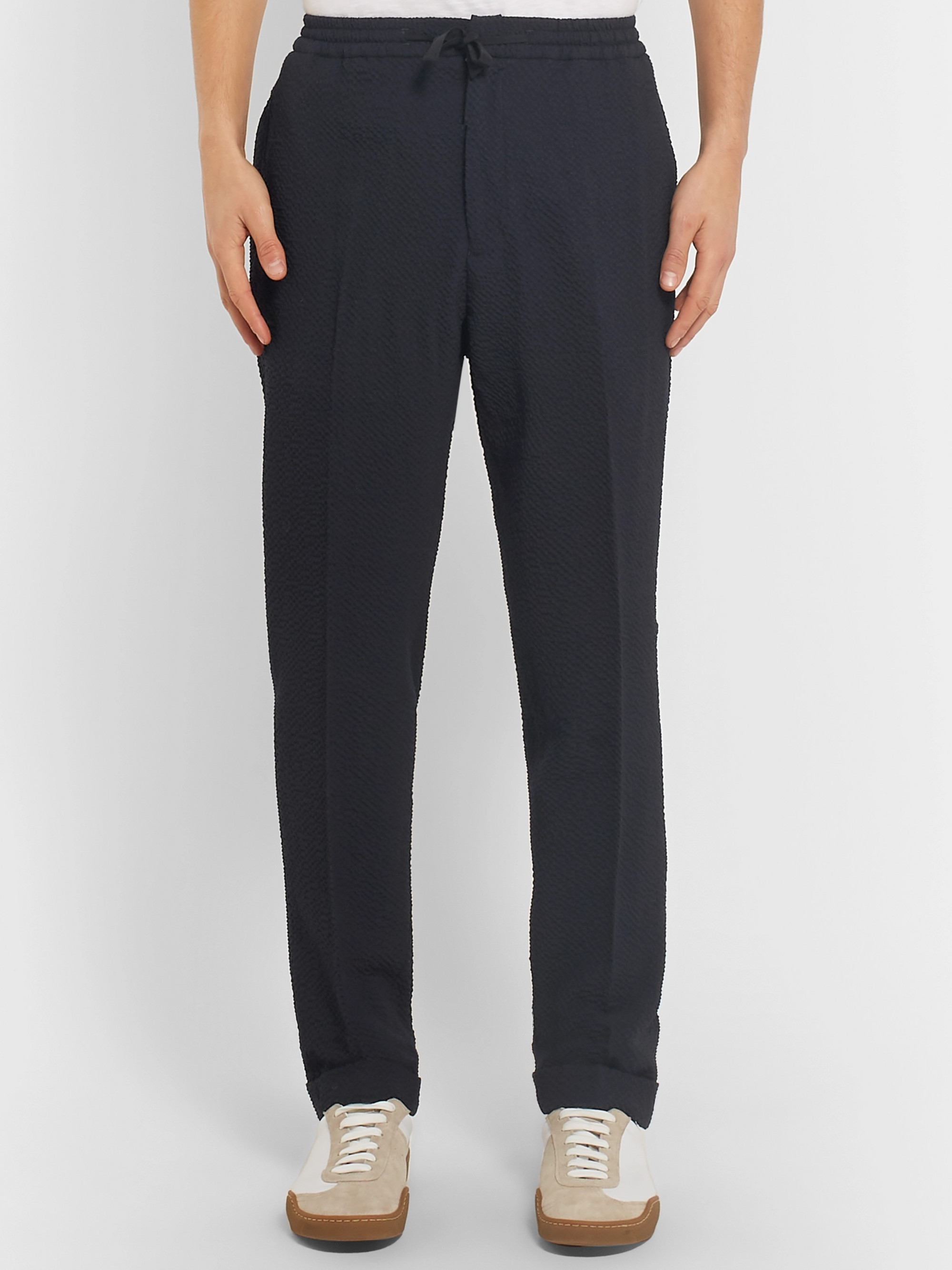 Officine Generale Navy Tapered Wool-Blend Seersucker Drawstring Trousers