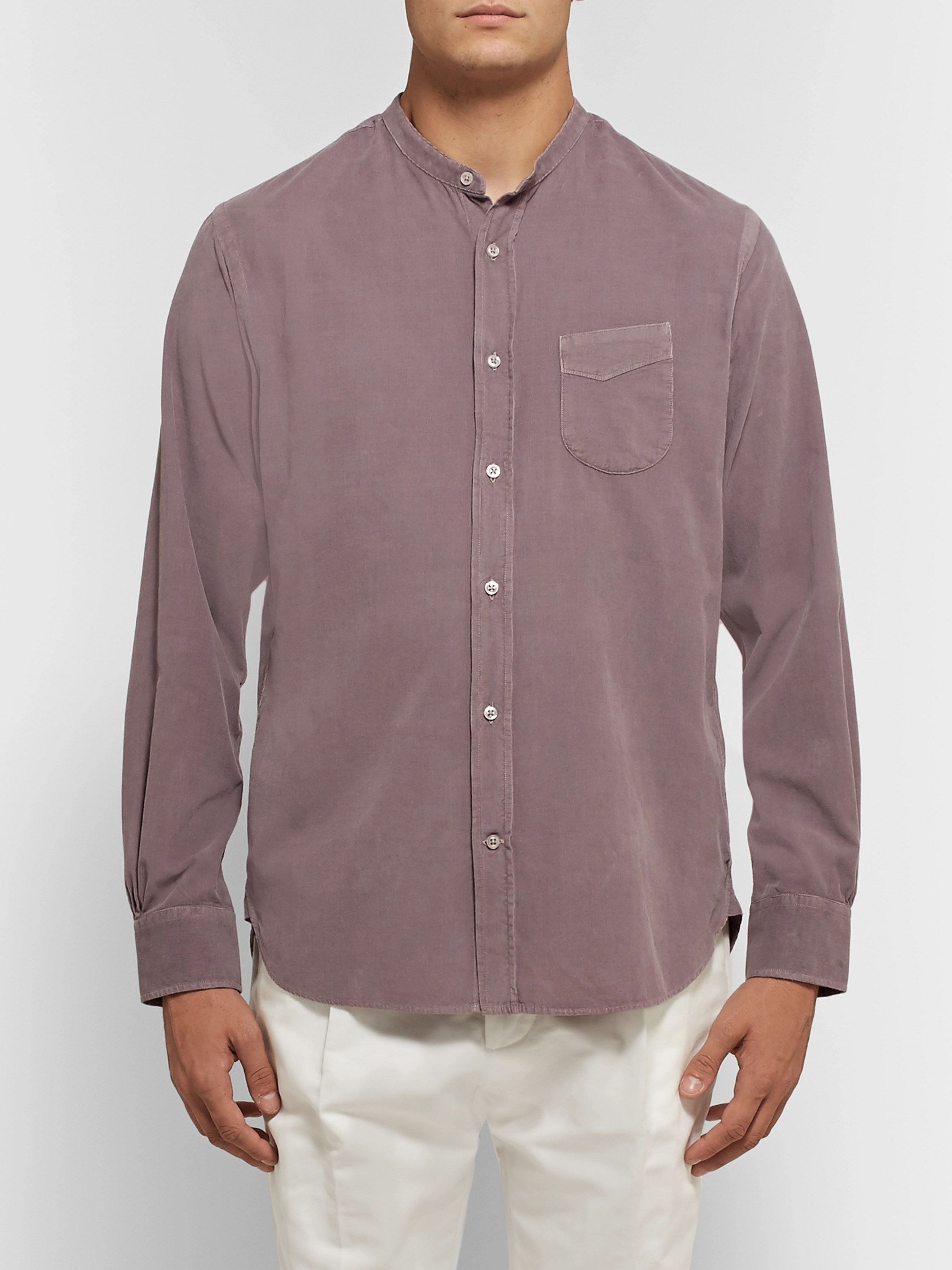 Officine Generale Grandad-Collar Cotton-Corduroy Shirt