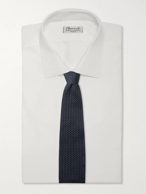 Brioni Reversible Knitted Silk and Linen-Blend Tie