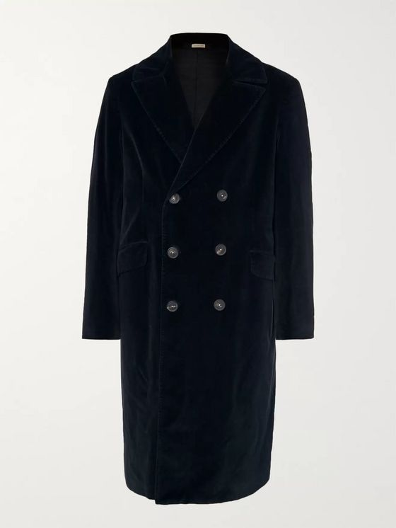 Massimo Alba Double-Breasted Cotton-Velvet Overcoat