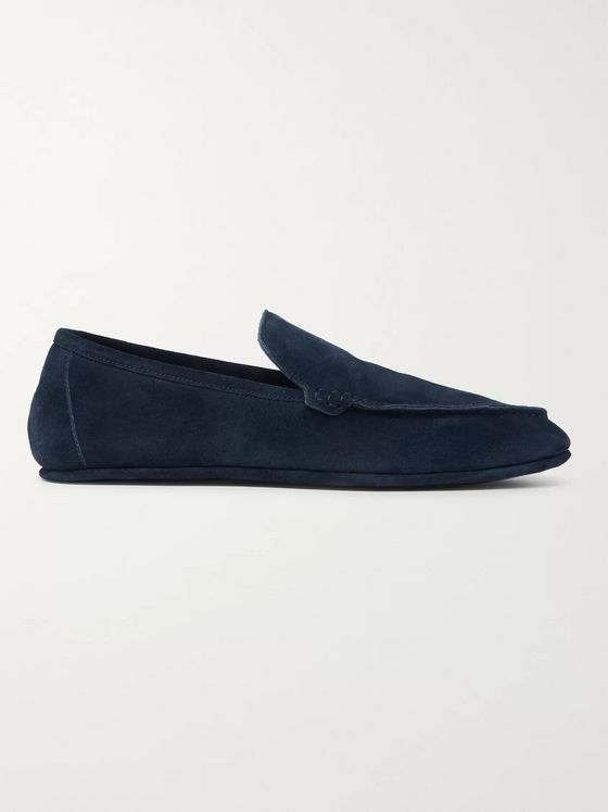 LORO PIANA Walk At Home Cashmere-Lined Suede Slippers