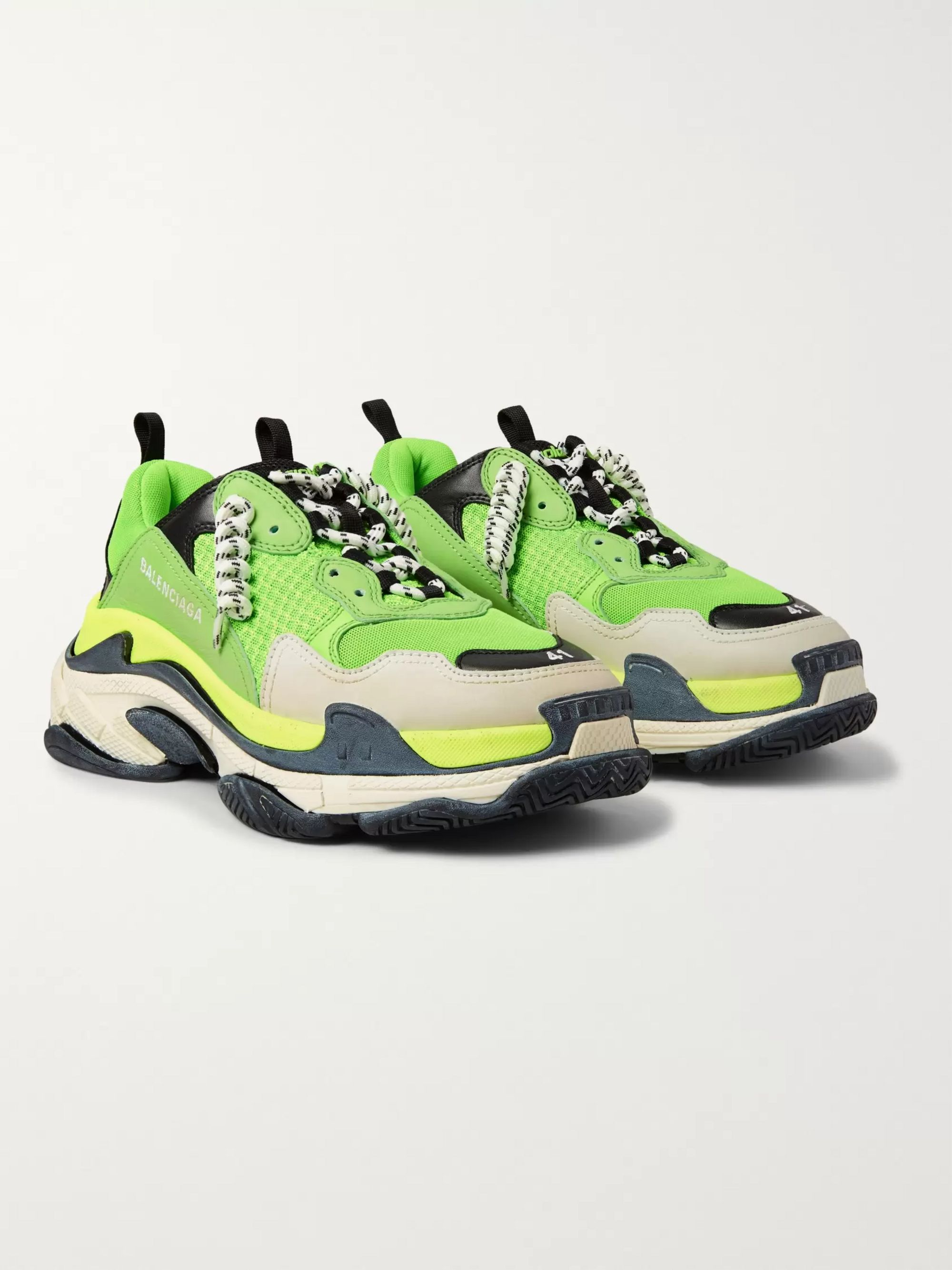Balenciaga Triple S Mesh, Nubuck And Leather Sneakers