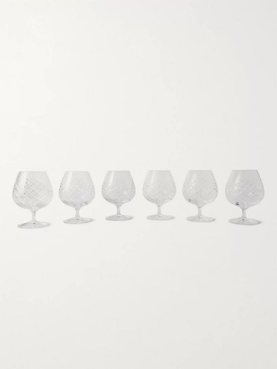 Soho Home Barwell Set of Six Cut Crystal Brandy Glasses
