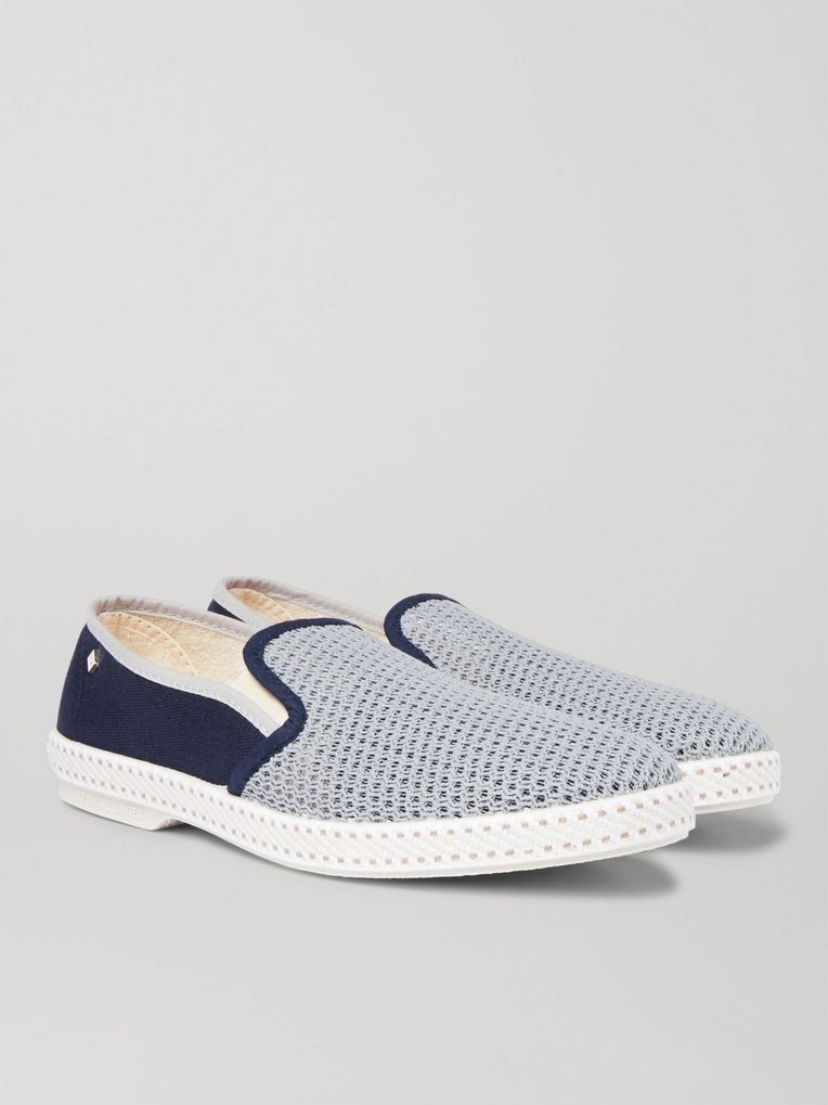 Rivieras Maltese Falcon Cotton-Mesh and Canvas Espadrilles