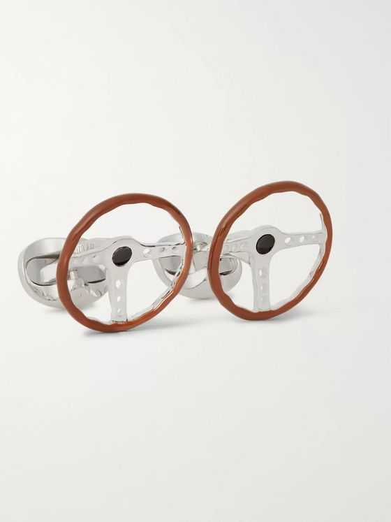 Deakin & Francis Steering Wheel Sterling Silver and Enamel Cufflinks