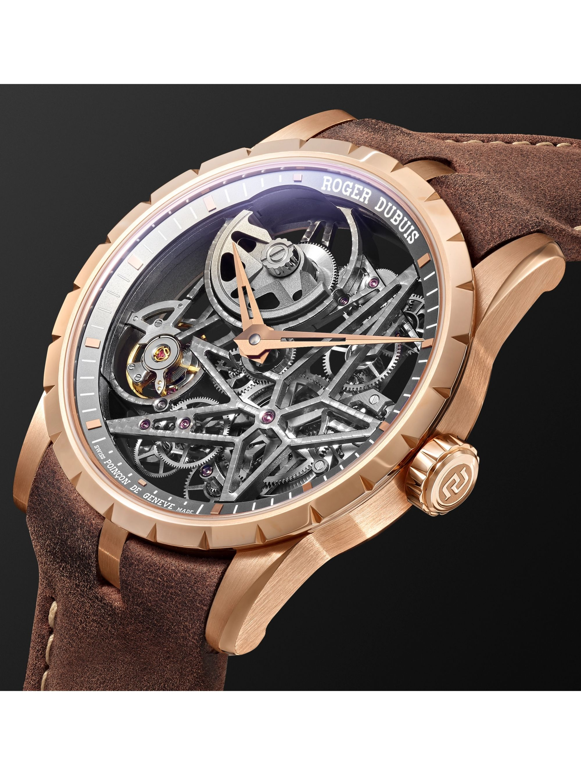 Roger Dubuis Excalibur Automatic Skeleton 42mm 18-Karat Pink Gold and Leather Watch, Ref. No. DBEX0727