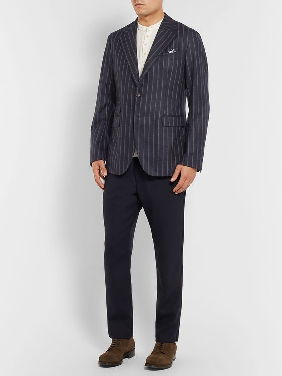 Massimo Alba Navy Unstructured Pinstriped Wool Blazer