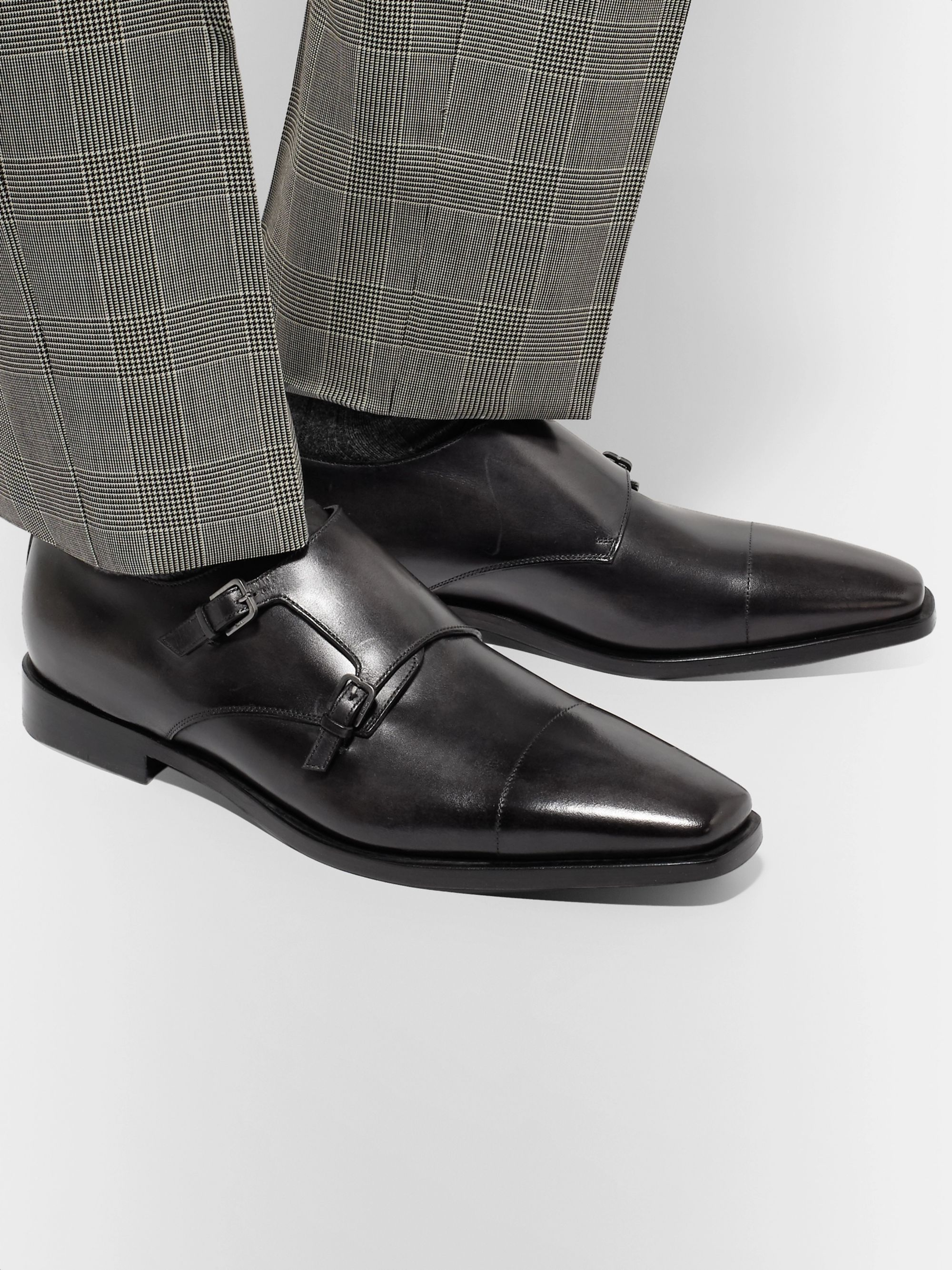 Berluti Cap-Toe Polished-Leather Monk-Strap Shoes