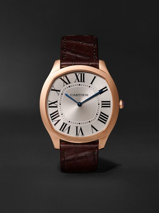 Cartier Drive de Cartier Hand-Wound 18-Karat Pink Gold and Alligator Watch, Ref. No. CRWGNM0006
