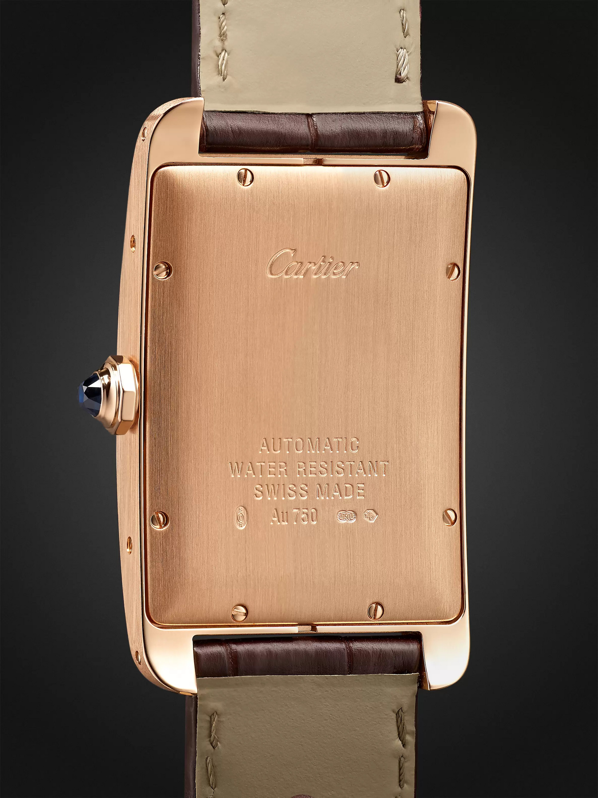 Cartier Tank Américaine Automatic 45mm 18-Karat Pink Gold and Alligator Watch