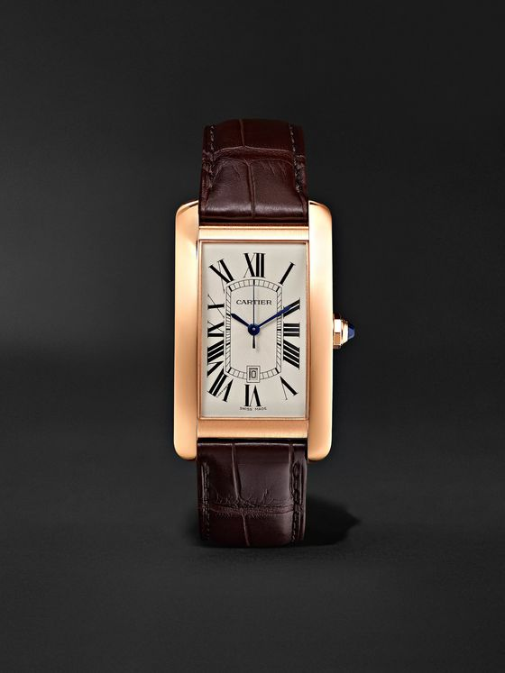 Cartier Tank Américaine Automatic 45mm 18-Karat Pink Gold and Alligator Watch, Ref. No. CRW2609156