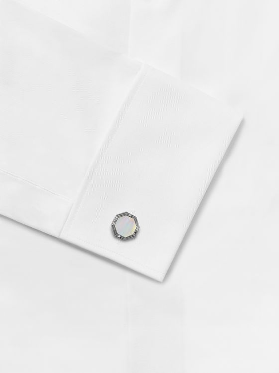 DEAKIN & FRANCIS Rhodium-Plated Mother-of-Pearl Cufflinks