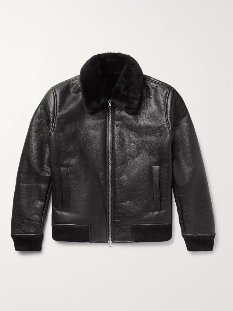 NN07 Rowan Shearling-Trimmed Leather Bomber Jacket