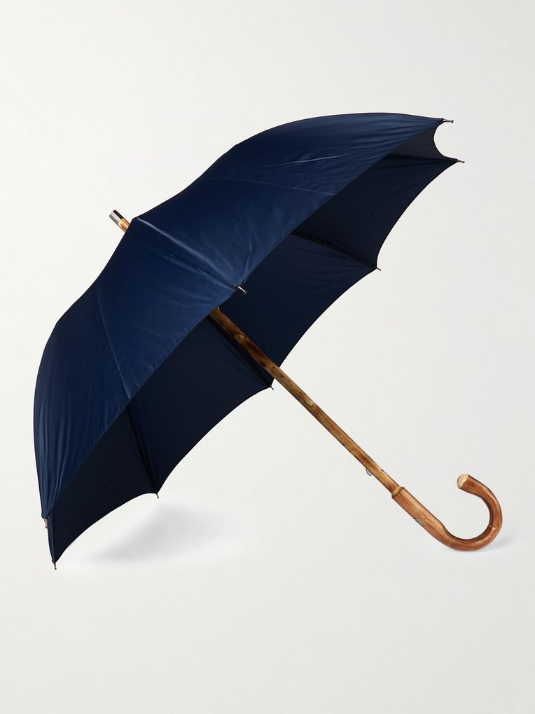 Francesco Maglia Lord Chestnut Wood-Handle Striped Umbrella