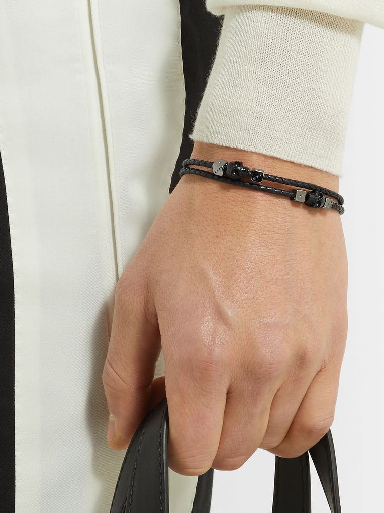 Alexander McQueen Gunmetal-Tone and Braided Leather Bracelet