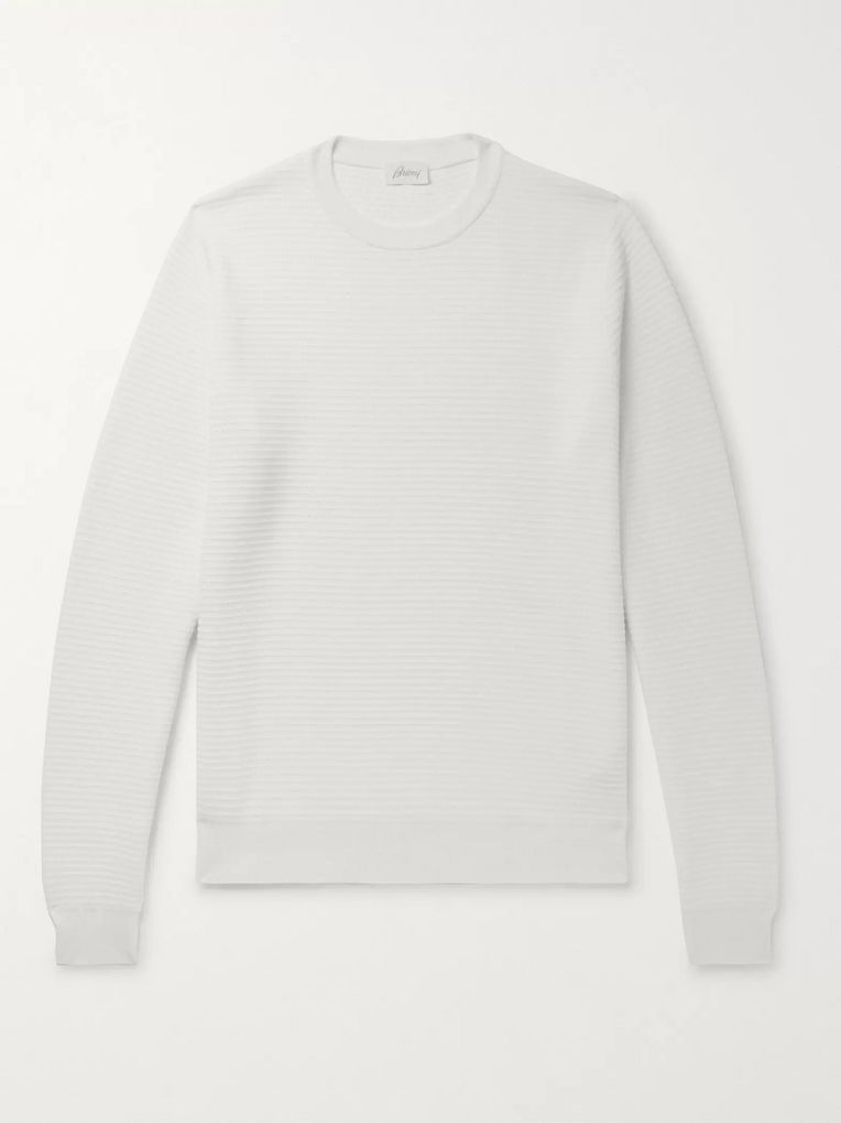 Brioni Textured Cotton and Silk-Blend Sweater