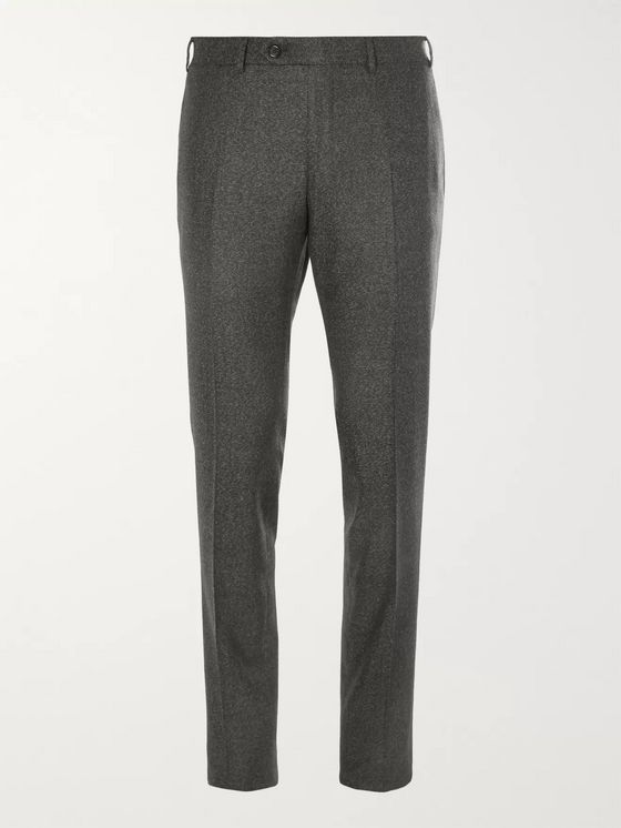 Canali Grey Kei Slim-Fit Tapered Wool-Flannel Suit Trousers