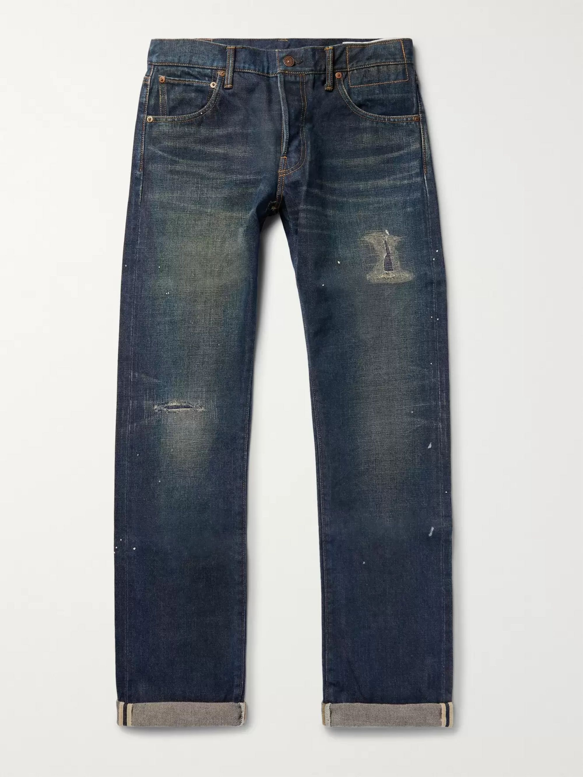 visvim Social Sculpture 01 Slim-Fit Distressed Selvedge Denim Jeans