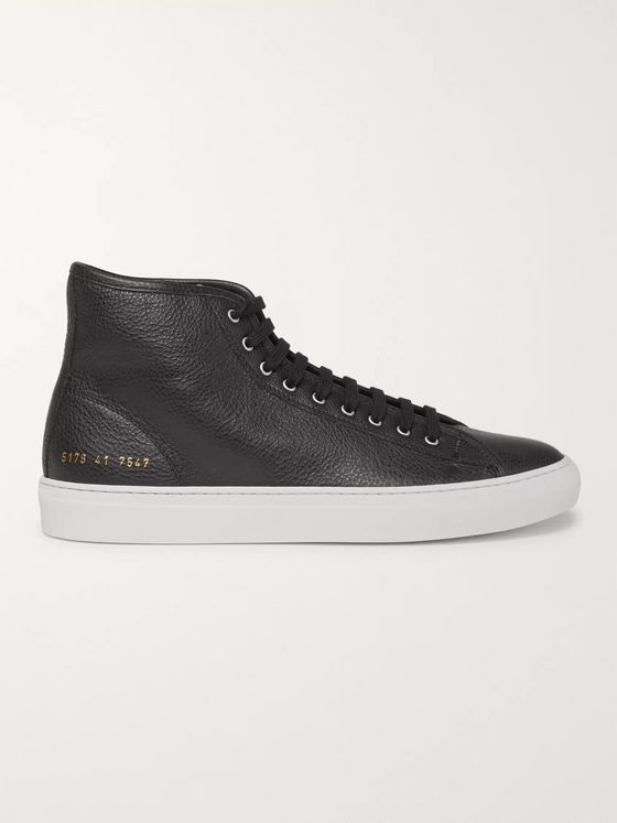 Common Projects Tournament Full-Grain Leather High-Top Sneakers