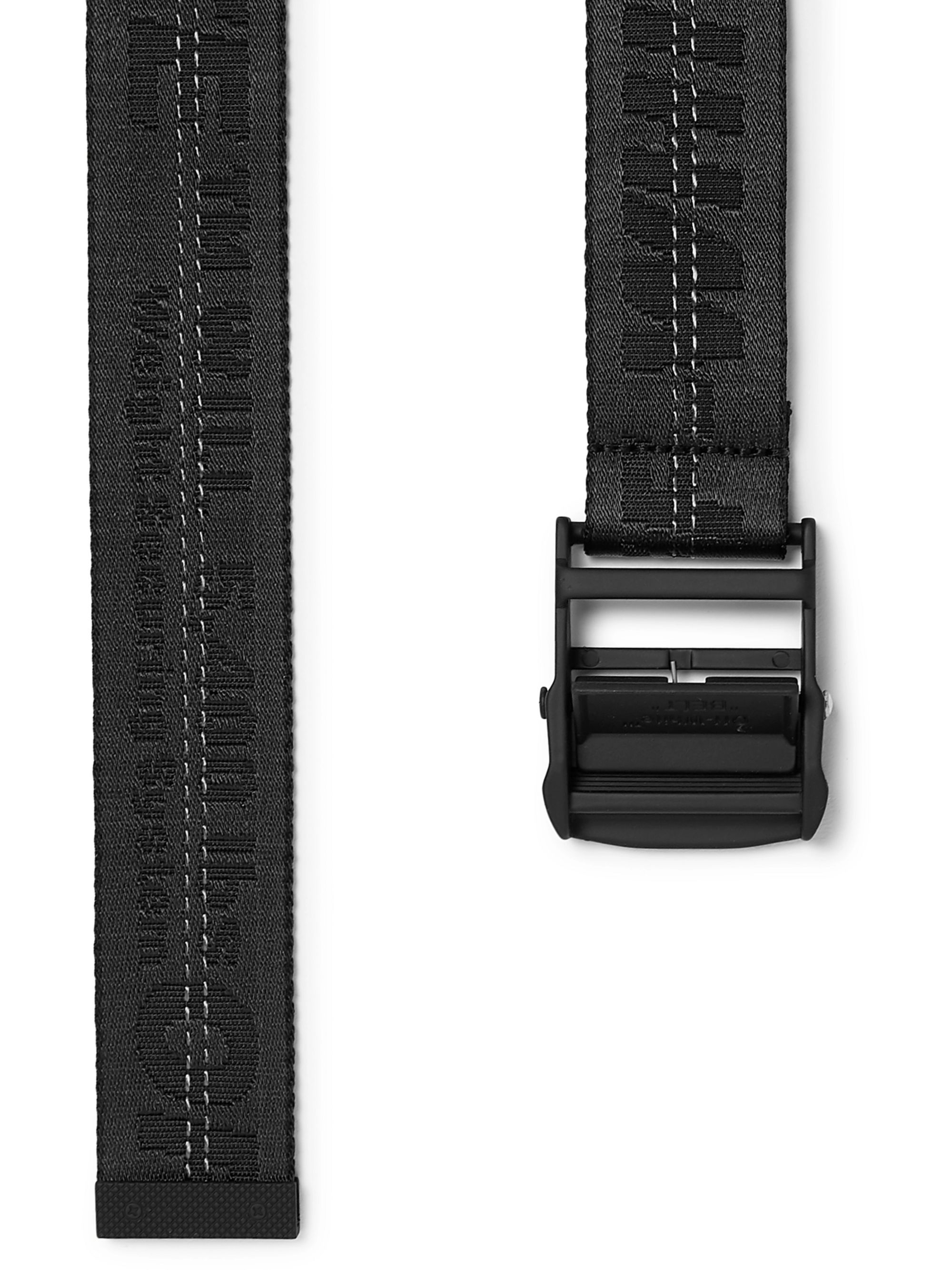 Off-White 3.5cm Black Industrial Logo-Jacquard Webbing Belt