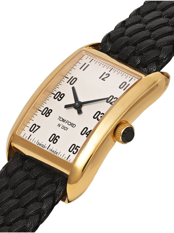 Tom Ford Timepieces 001 18-Karat Gold and Woven Leather Watch