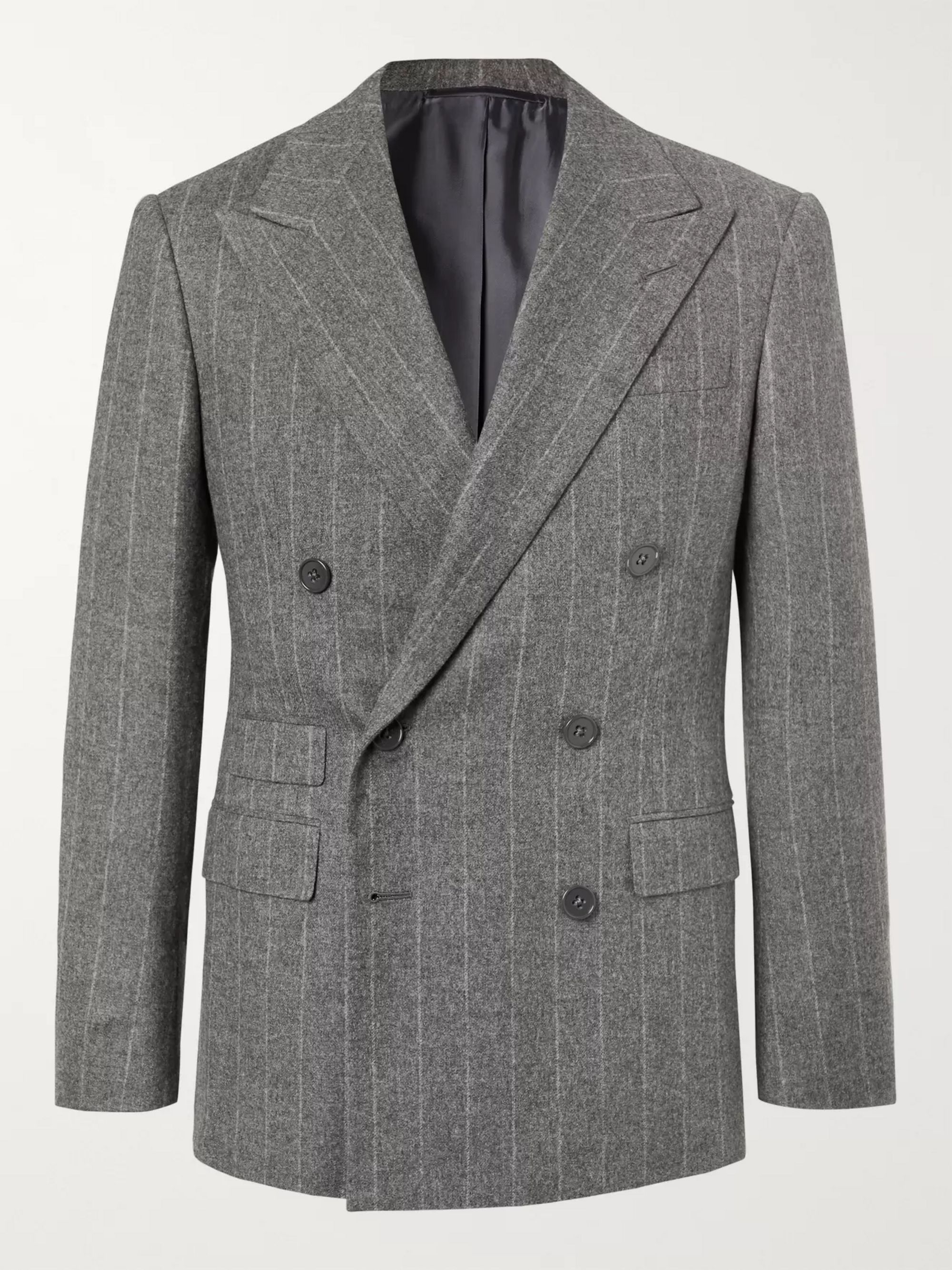 Ralph Lauren Purple Label Grey Gregory Double-Breasted Pinstriped Wool Suit Jacket