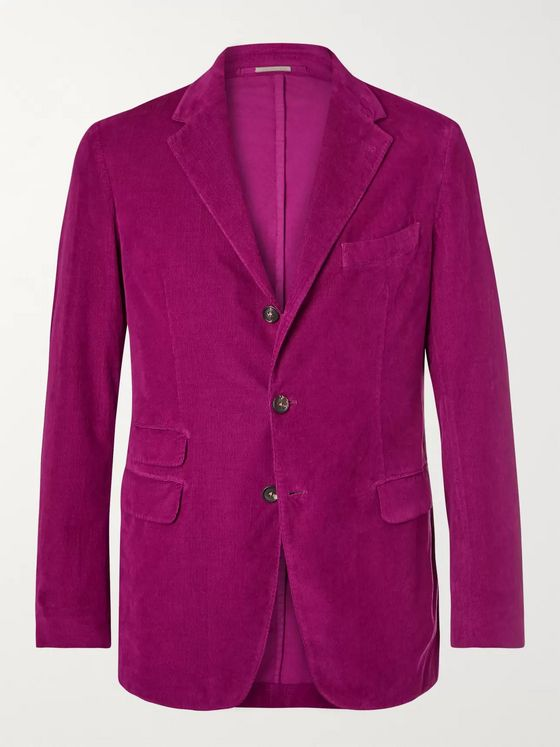 Massimo Alba Magenta Unstructured Cotton-Corduroy Blazer