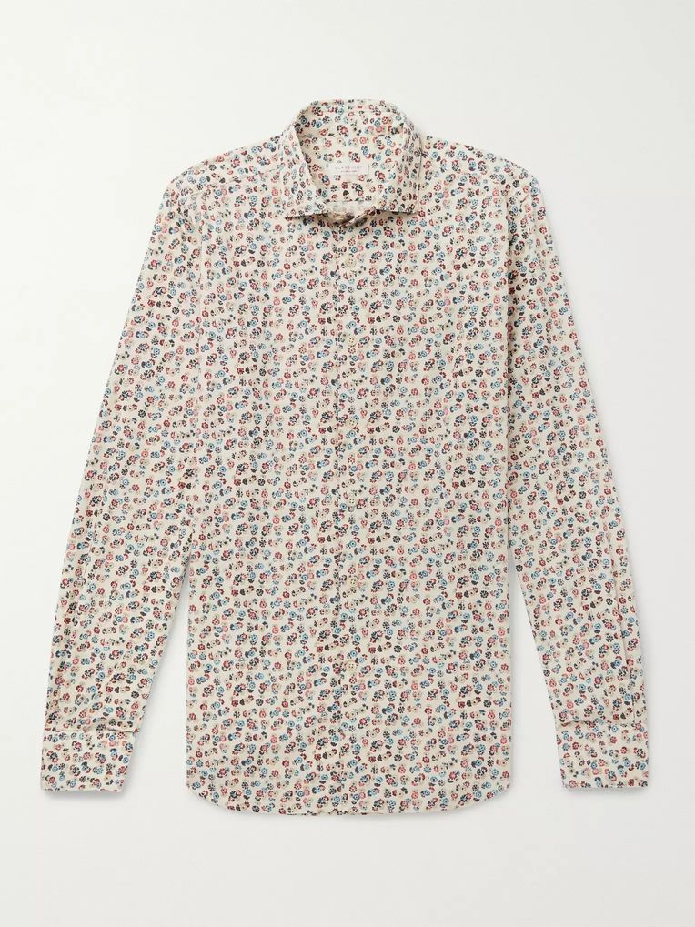 Incotex Ween Slim-Fit Cutaway-Collar Floral-Print Cotton Shirt