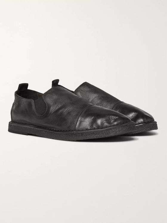 Marsell Cap-Toe Washed-Leather Loafers