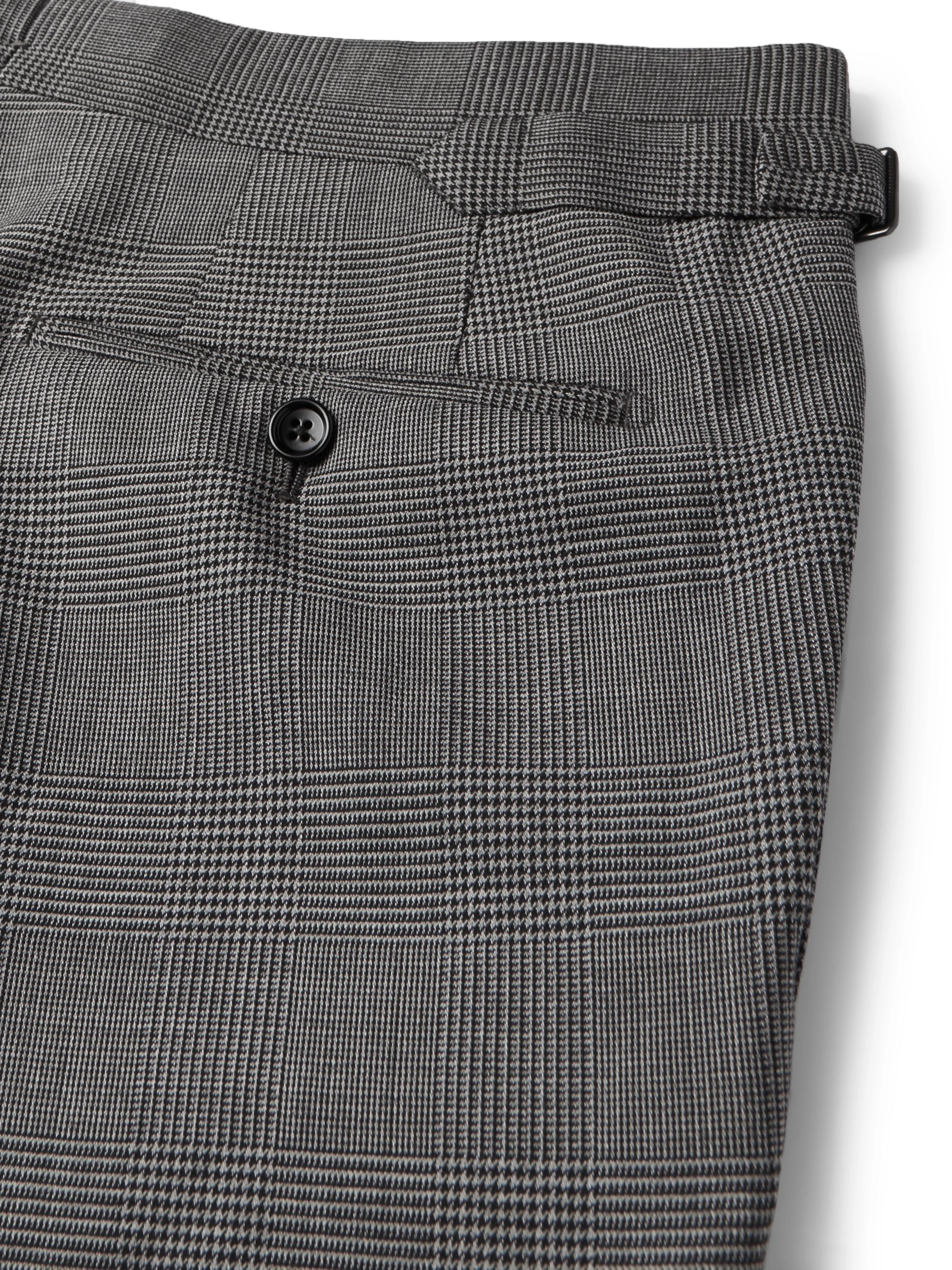 TOM FORD Grey Slim-Fit Prince of Wales Checked Stretch-Wool Suit Trousers