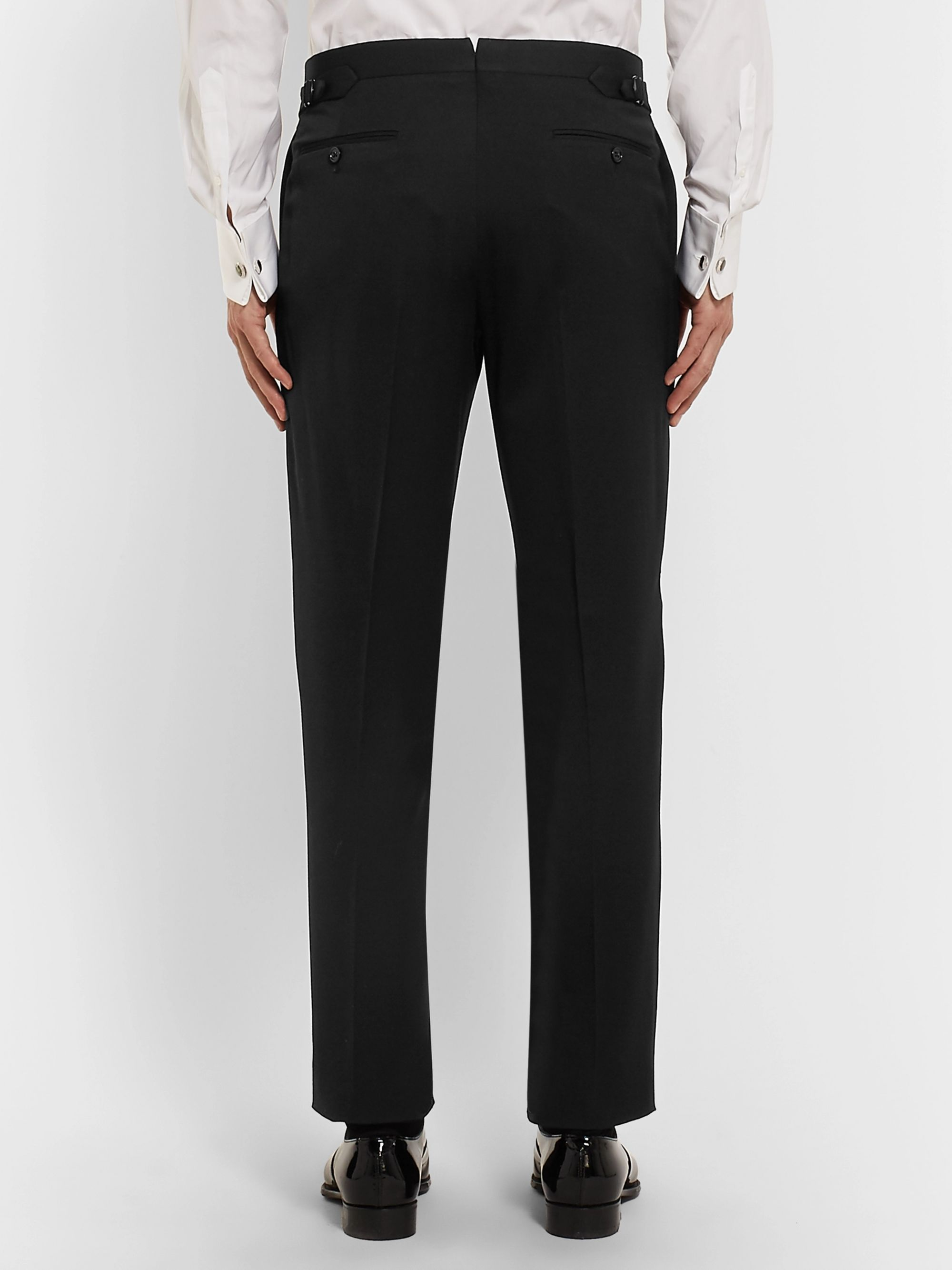 Ralph Lauren Purple Label Black Gregory Satin-Trimmed Wool Tuxedo Trousers