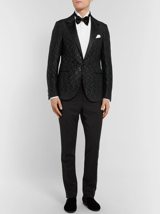 Lanvin Black Slim-Fit Sequinned Jacquard Blazer