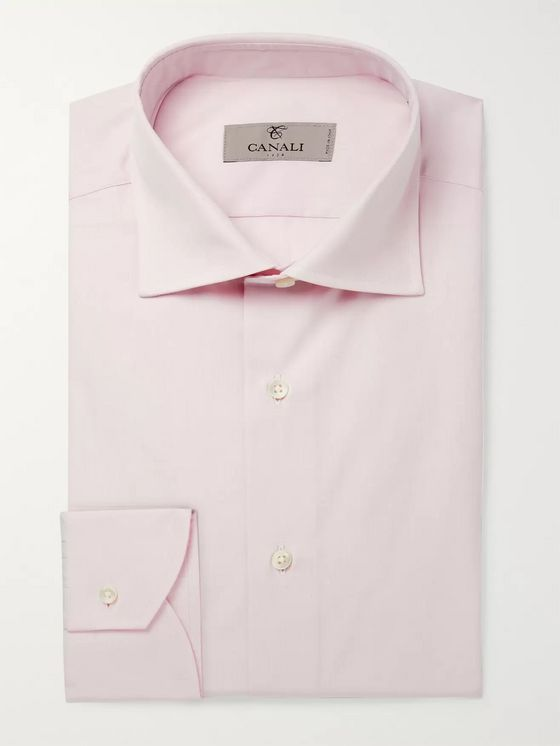 Canali Light-Pink Cutaway-Collar Cotton Shirt