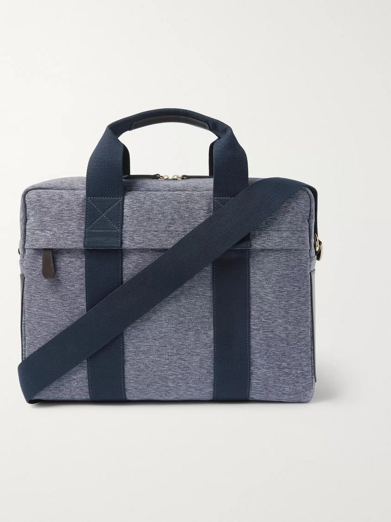 The Workers Club Leather-Trimmed Canvas Briefcase