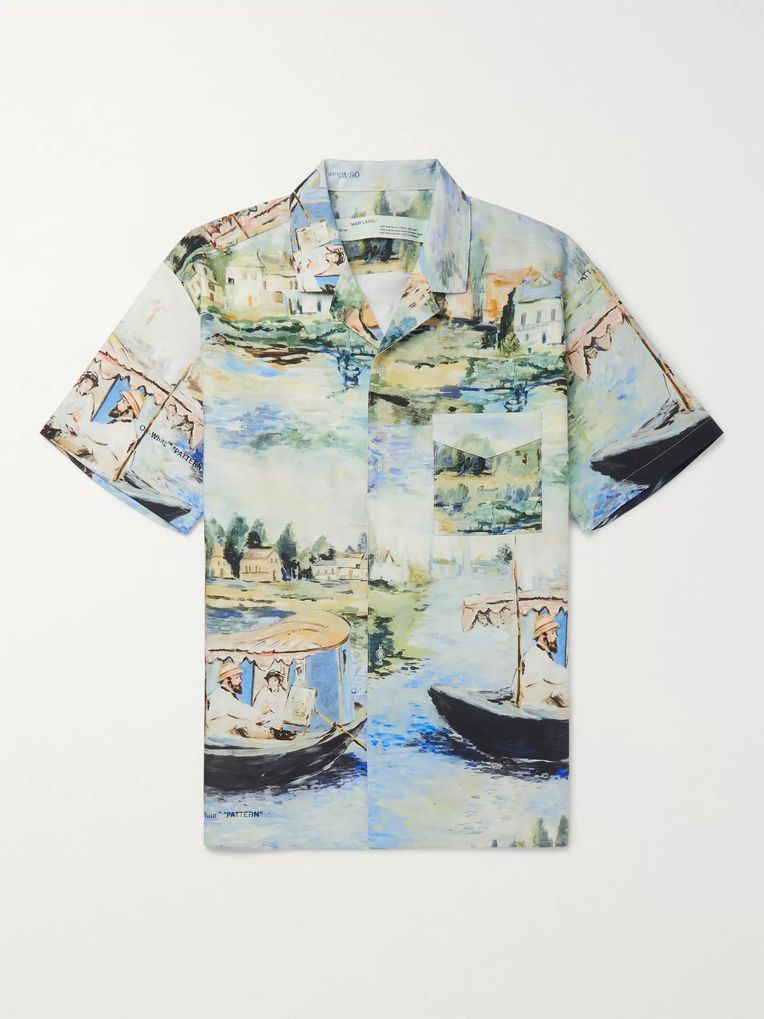 Off-White Camp-Collar Printed Cotton Shirt