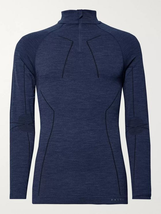 FALKE Ergonomic Sport System Stretch Virgin Wool-Blend Half-Zip Base Layer