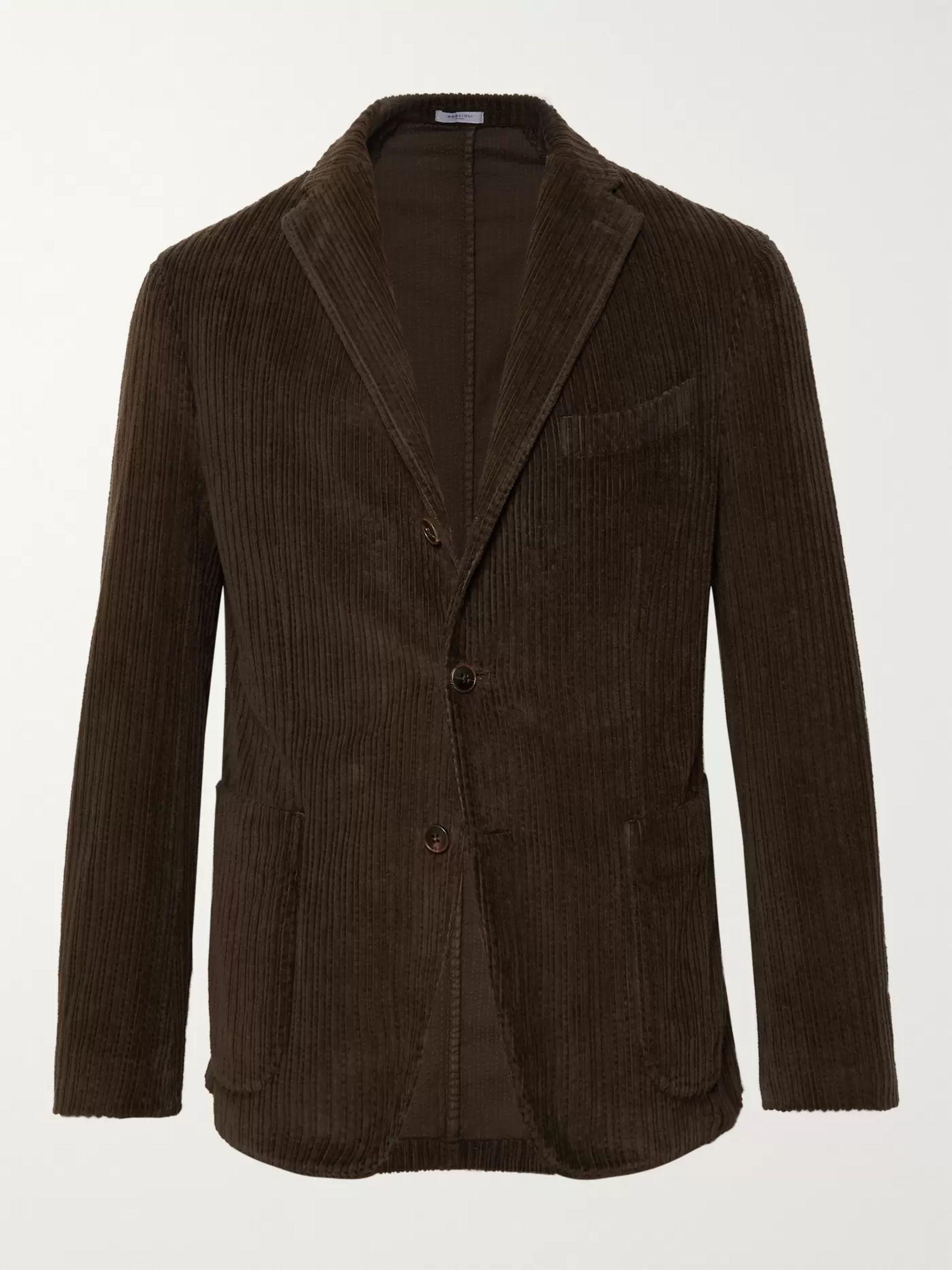 746f91b89 Dark-Green Slim-Fit K-Jacket Cotton-Corduroy Blazer