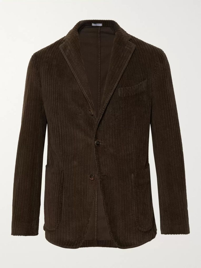 Boglioli Dark-Green Slim-Fit K-Jacket Cotton-Corduroy Blazer