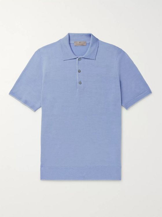 Canali Slim-Fit Contrast-Tipped Wool Polo Shirt