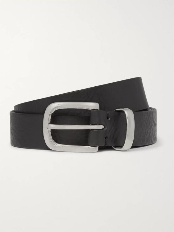 Oliver Spencer 2.5cm Black Textured-Leather Belt