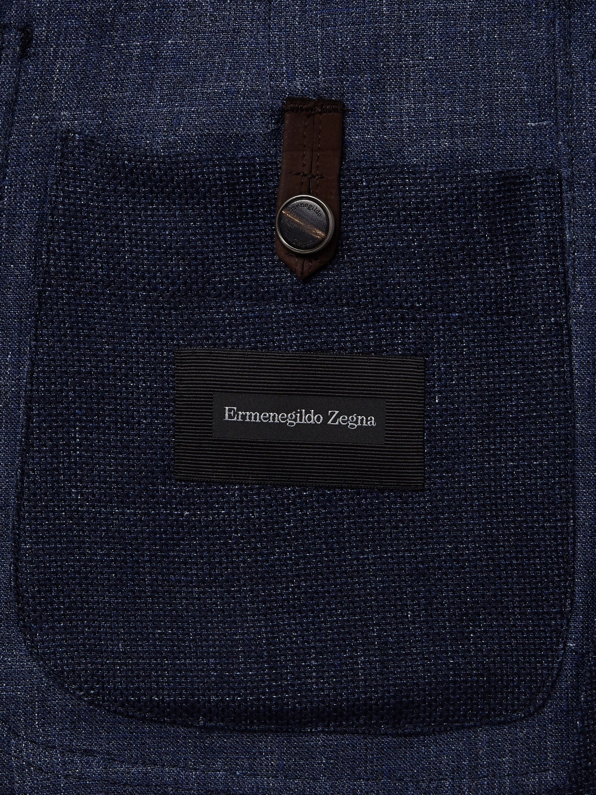 Ermenegildo Zegna Navy Slim-Fit Unstructured Mélange Linen, Cotton and Silk-Blend Blazer